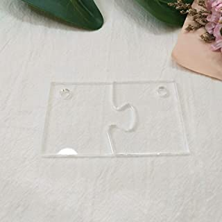 10sets of Clear Blank Acrylic Matching Puzzle Keychains -You & Me a Perfect Match, Wedding Tags Save Date (3'')
