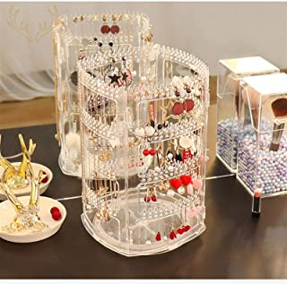GGJIN Earring Rack Can Be Rotated For Home Use. Ear Clip Display Rack Large Capacity Necklace Jewelry Shelf (Color : Trans...