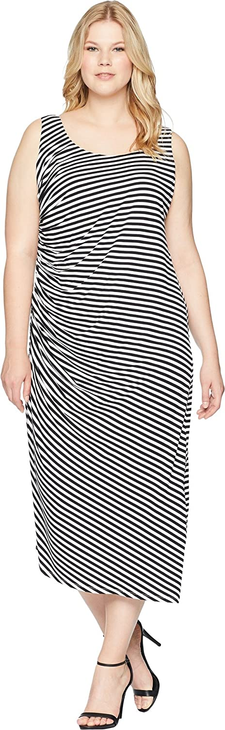 Vince Camuto Specialty Size Womens Plus Size Sleeveless Side Ruched Amalfi Stripe Dress Rich Black 2X (US 18W20W)