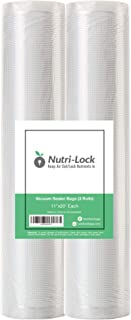 "Nutri-Lock Vacuum Sealer Bags. 2 Pack 11""x20' Commercial Grade Bag Rolls for FoodSaver, Sous Vide. (Fits Inside Machine)."
