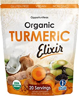 Organic Turmeric Elixir: Golden Milk Powder Joint Support Supplement. Non GMO, Vegan, Gluten Free & 20 Servings