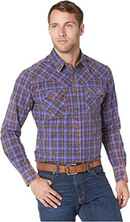 Retro Premium Long Sleeve Plaid Snap