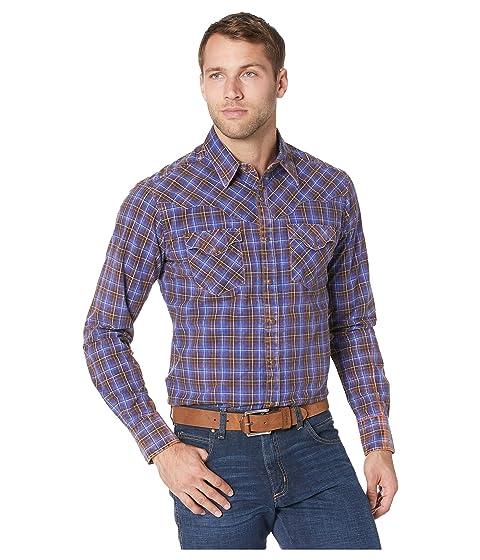 1960s – 70s Mens Shirts- Disco Shirts, Hippie Shirts Wrangler Retro Premium Long Sleeve Plaid Snap BrownBlue Mens Clothing $47.00 AT vintagedancer.com