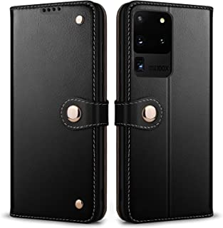 SRZCY Galaxy S20 Ultra Case,Wallet Case Genuine Leather S20 Ultra 5G Folio Phone Cases [TPU Inner Shell][Card Holder] Prot...