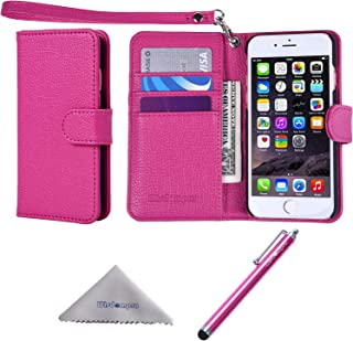 Wisdompro iPhone 6 Plus Case, iPhone 6s Plus Case, Premium PU Leather 2-in-1 Protective Folio Flip Wallet Case with Credit Card Holder Slot and Wrist Lanyard for Apple iPhone 6 Plus 6s Plus-Hot Pink