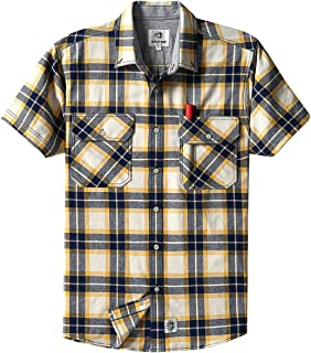 Men's Short Sleeve Plaid Checkered Button Down Casual Work Shirts