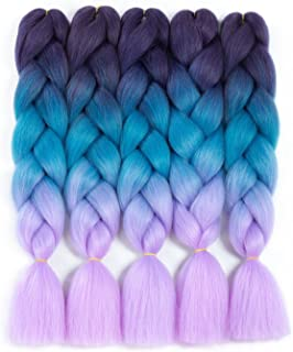 Forevery Rainbow Braiding Hair Kanekalon Synthetic Ombre Hair 5Pcs for Braiding High Temperature Fiber Crochet Twist Braids Purple to Blue to Viole (24