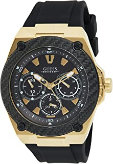 Guess W1049G5 Wire-Accent Bezel Round Silicone Analog Watch for Men - Black Gold
