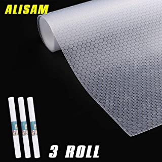 ALISAM 3 Rolls EVA Shelf Liner,Translucent and Non-Adhesive Free to Cut Washable,for Drawer Cabinet Shelving Kitchen Under Sink Shelf 17.7 x 59 inch