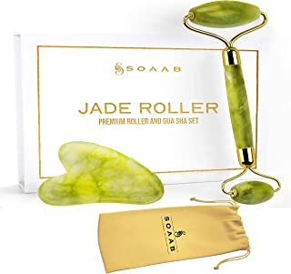 Soaab Jade Roller and Gua Sha Massage Set Anti Aging Wrinkle Reduction Facial Roller for Face,Eyes,Neck - 100% Natural Jad...