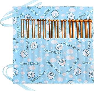 Aiguille à Tricoter 22Pcs 11 Tailles en Bambou Kits de Cas d'Aiguilles à Tricoter pour Débutants en bois(2mm-10mm)