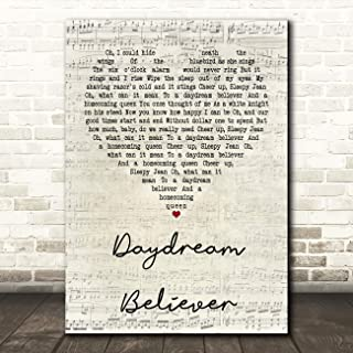 Daydream Believer Script Heart Quote Song Lyric Wall Art Gift Print