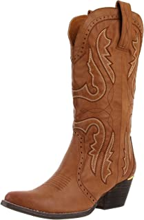 orange dress with cowboy boots