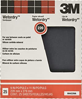 3M Pro-Pak Wetordry Sanding Sheets, 220A-Grit, 9-Inch by 11-Inch,1 Pack of 25