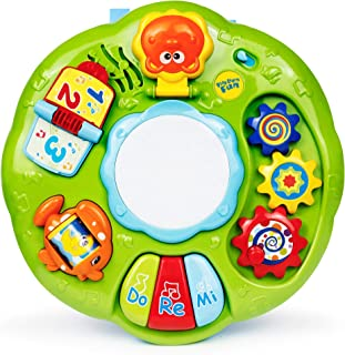 B/O Activity Center with Drum – Infant Activity Center with 3 Musical Piano Keys, Numbers and Letters Flip Pages, Mirror, Spinning Wheels, Animals, Sounds, Drum and More – Toys for Toddlers 18+ Months