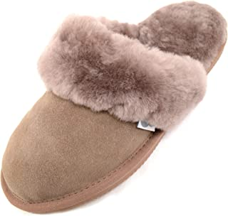 SNUGRUGS Womens Luxury Sheepskin Mule Slipper with Sheepskin Cuff and Light Weight uFLexible Sole