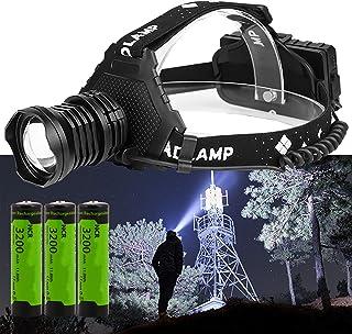 Super Bright Headlamp, P70 LED Flashlight Headlamp, 20,000 Lumens High-Power Strong Headlamp 5 Modes USB Rechargeable Wate...