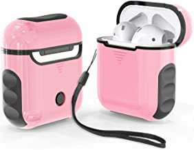 ORETECH Airpods Case Cover, Heavy Duty Hybrid 2 in 1 Shockproof Full Protective Case Hard PC+Soft Rubber Silicone Skin Cover Accessories Kits for Airpods 1/Airpods 2 - Pink&Black