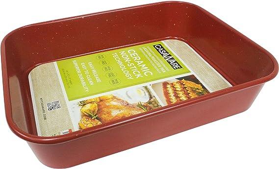 casaWare Ceramic Coated NonStick Lasagna/Roaster Pan 13 x 10 x 3-Inch (Red Granite)