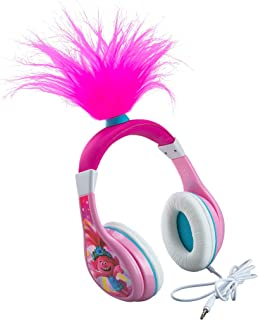 Trolls World Tour Poppy Kids Headphones, Glow in The Dark, Stereo Sound, 3.5mm Jack, Wired Headphones for Kids, Tangle-Free, Volume Control, Foldable, Childrens Headphones Over Ear for School Travel