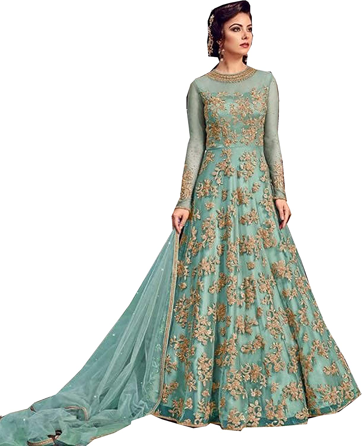 Delisa Indian Pakistani Bollywood Party Wear Long Anarkali Gown for Womens Razzi purplete N