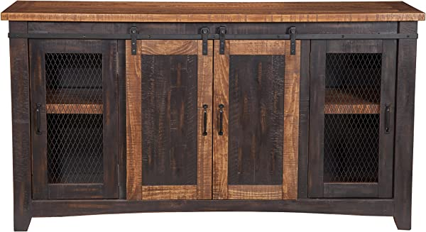 Martin Svensson Home 90905 Santa Fe TV Stand Antique Black And Aged Distressed Pine