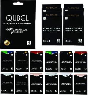 RFID Blocking Sleeves (Set of 16: 12 Credit Card & 4 Passport Protectors) Tear Proof, Waterproof, Smart Slim Design. Fits ...