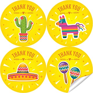 2 Inch Fiesta Thank You Stickers - Mexican Theme Birthday Party Labels Favors Decorations - 40 Stickers - Fiesta Baby Shower Wedding Thank You Favors - Mexican Sombrero Cactus Pinata Maracas
