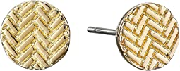 Etched Basket Weave Stud Earrings