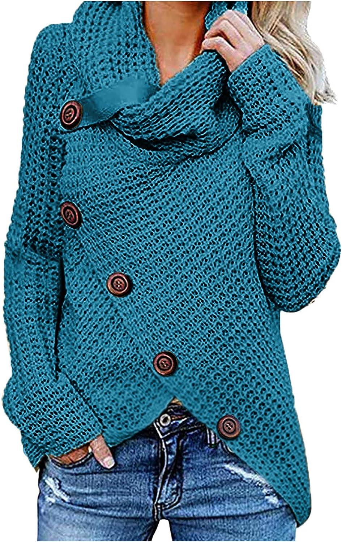 Winter Tops for Women Long Sleeve Hoodie Button Down Irregular Knit Sweater