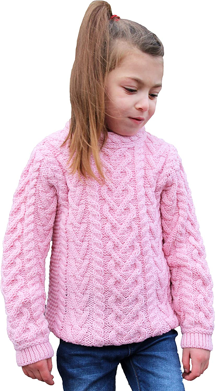 Aran Crafts Kid's Irish Soft Cable Knit Heart Design Sweater (100% Merino Wool)