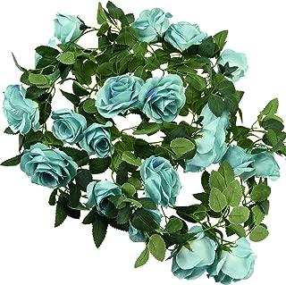 FiveSeasonStuff 29 Ft 4 Pack Rose Silk Flower Garland Artificial Flowers Decoration Hanging Floral Décor for Wedding Baby Shower Birthday Party Garden (Sky Blue)