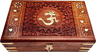 FORESTIS GALLINARIA™ Exquisitely Hand Brass-Filled Wooden OM Box for Good Luck| Jewellery Box| Handmade Decorative Case| K...