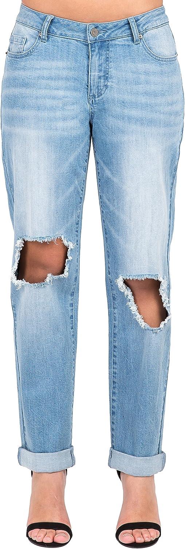Poetic Justice Women's Curvy Fit Light Acid Wash Destroyed Boyfriend Jeans