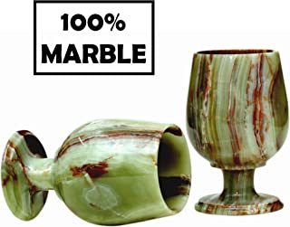 RADICALn Wine Glasses Set of 2 Handmade Marble 5.5 x 3.5 Inches 10.1 oz Antique Wine Glass Set - Modern Bar Marble Stone Bourbon Champagne Glasses - Suitable for Small Gathering & Home Decor (Green)