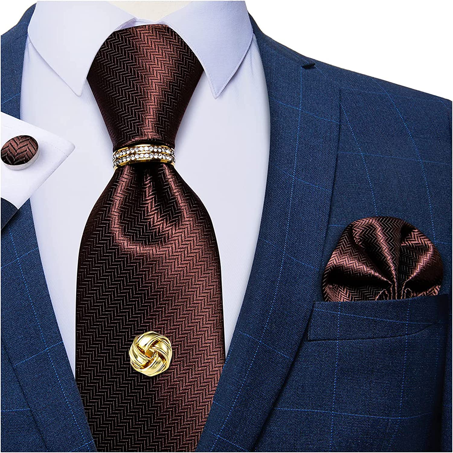 DiBanGu Mens Silk Solid Necktie, Gold Tie Tack with Chain, Gold Tie Ring, Pocket Square, Cuff Links Gift Box Set Formal