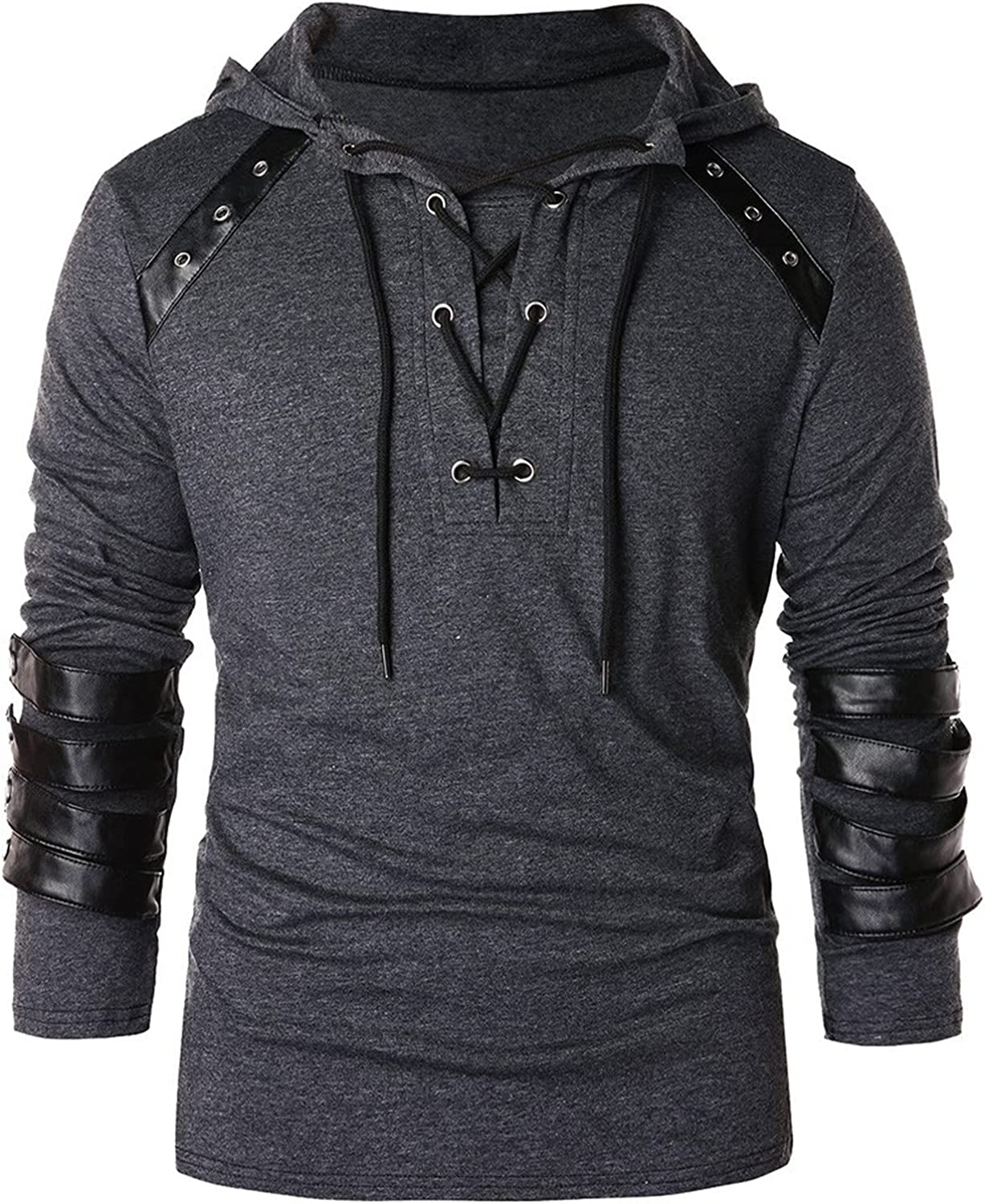 XXBR Gothic Steampunk Shirts for Mens, Lace Up Tether Knight Pullover Hooded Sweatshirts Tops Teen Boys Medieval Jumper