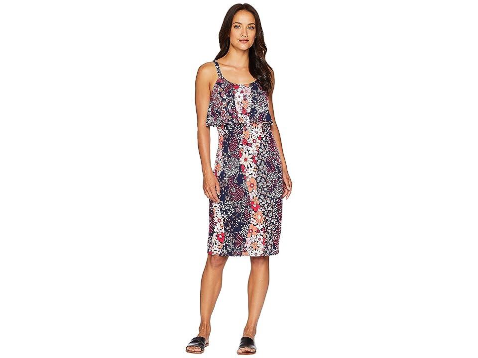 MICHAEL Michael Kors Patch Flounce Tank Dress (True Navy/Bright Blush) Women