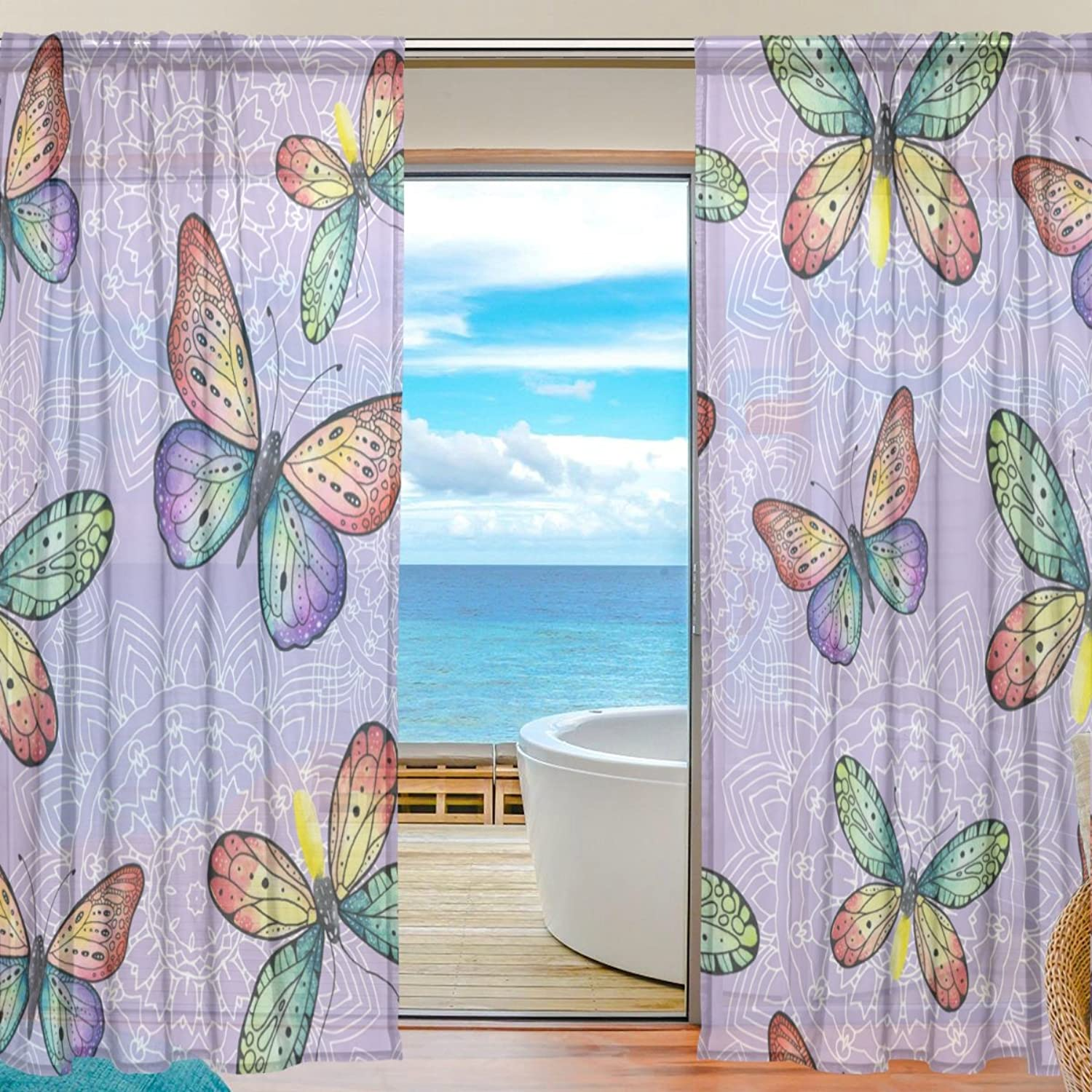Vantaso Sheer Curtains 78 inch colorful Butterflies with Flowers On Purple for Kids Girls Bedroom Living Room Window Decorative 2 Panels