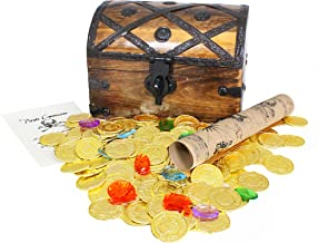 Well Pack Box Large Wooden Pirate Treasure Chest 144 Plastic Coins Map Commission 8x6x6