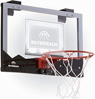 """Silverback 23"""" LED Light-Up Over the Door Mini Basketball Hoop Includes Mini Basketball and Air Pump"""