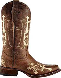 Corral Women's Circle G Side Cross Embroidered Square Toe Western Boot