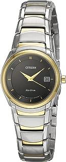Citizen 60432 Reloj Clasico Analógico Eco-Drive para Mujer, color Negro/Plata