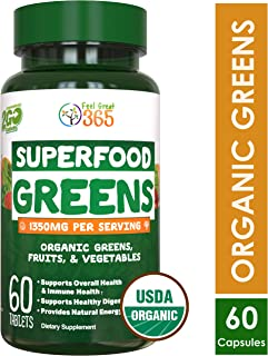 Organic Super Greens Fruit & Vegetable Tablets by Feel Great 365 – Superfood Green Juice Powder Supplement – Increase Energy, Improve Wellness, Alkalize The Body & More