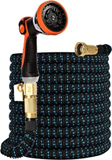 """50FT Expandable Garden Hose,10 Function Water Spray Nozzle Durable Flexible Water Hose,3/4"""" Solid Brass Fittings,Extra Str..."""