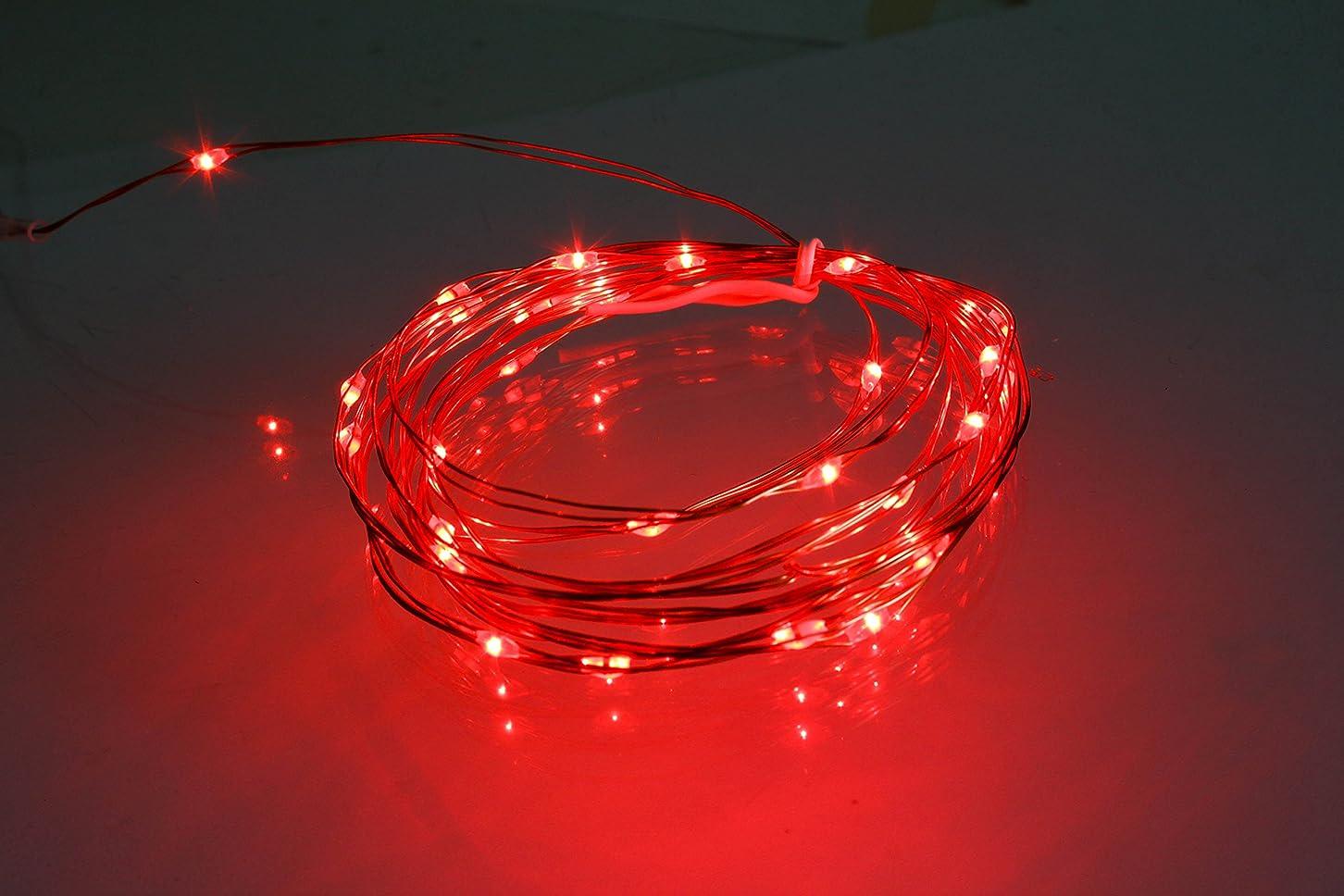 支配的ジャンピングジャックコール電光ホーム 電池式 ジュエリーライト リモコン付属 [8パターン 点灯] 防水 防雨 クリスマスツリー ハロウィン DIY 3m LEDライト 30球 (レッド)