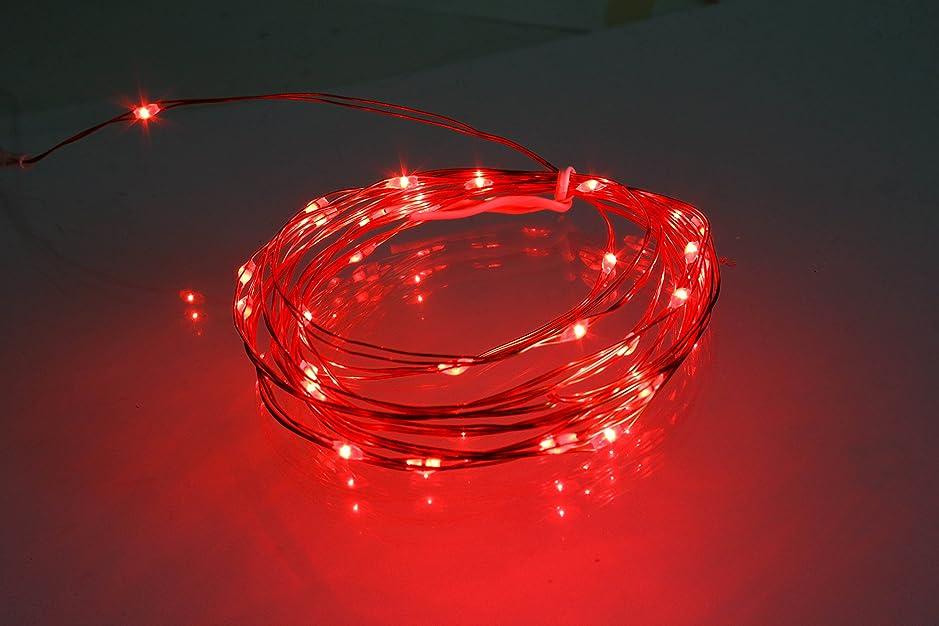 モットーセマフォブリリアント電光ホーム 電池式 ジュエリーライト リモコン付属 [8パターン 点灯] 防水 防雨 クリスマスツリー ハロウィン DIY 3m LEDライト 30球 (レッド)