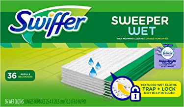 Swiffer Sweeper Wet Mopping Pad Refills for Floor Mop with Febreze Lavender Vanilla & Comfort Scent