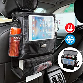 AMEIQ Seat Back Organizer for Car, Cooler with Cell Phone iPad and Tissue Holder, Backseat Watertight Insulated Lunch Bag, Travel Picnic Storage Container (Deluxe-Rectangle)