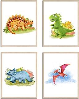 WIETRE® Juego de 4 imágenes de dinosaurio para habitación de los niños y bebés, decoración para niños y niñas, póster DIN A4 Dinos T-Rex de animales, decoración – sin marco